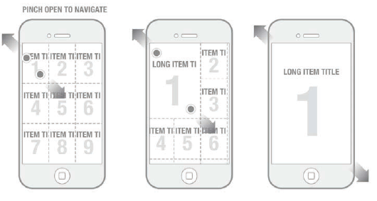 iphone grid expand navigation prototype